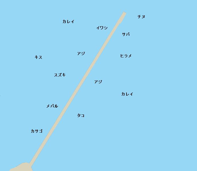 高松港玉藻堤防ポイント図