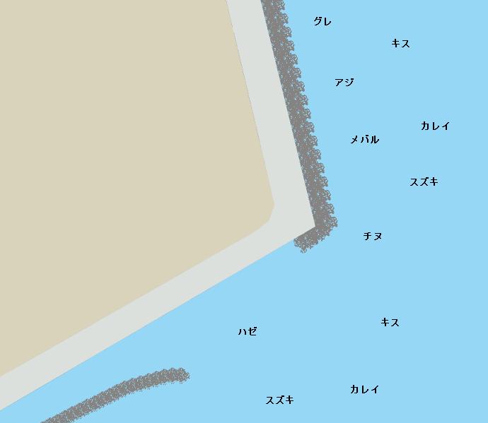 富田新港東予液化ガス付近ポイント図