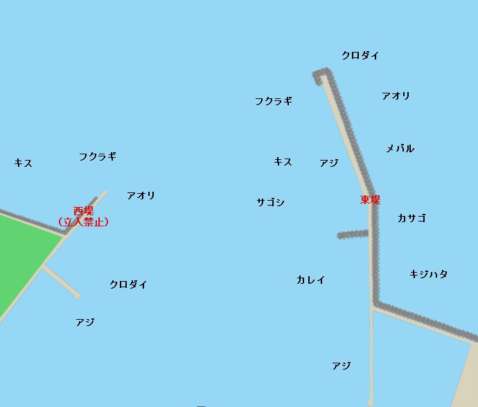 富山新港ポイント図(西堤、東堤)