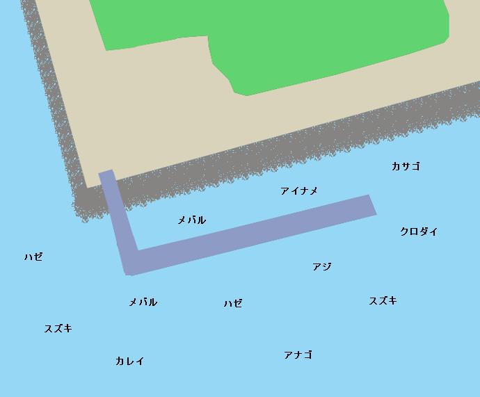 川越中電釣り桟橋ポイント図