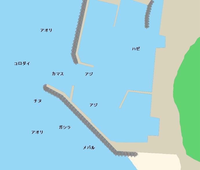 上野漁港ポイント図