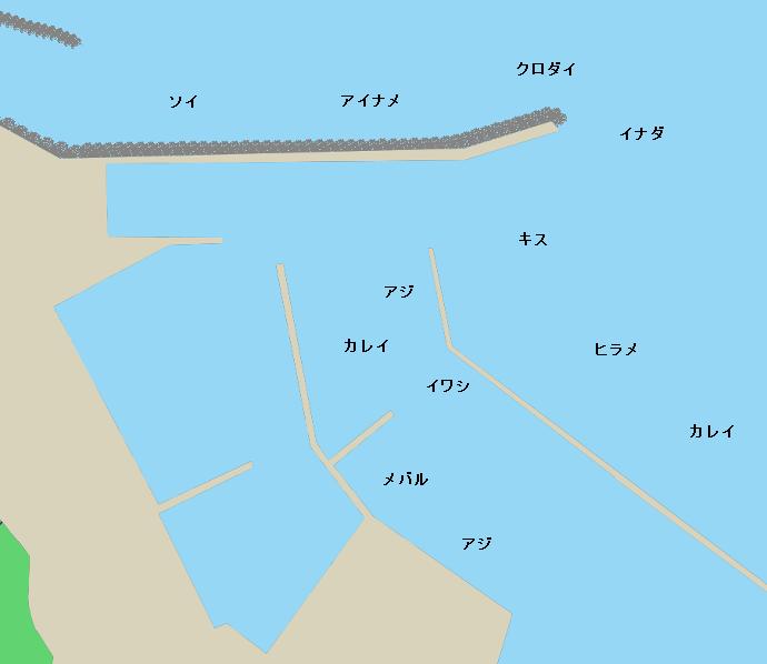 鯵ヶ沢漁港ポイント図