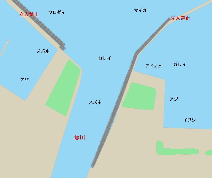 青森港ポイント図(堤川河口付近)
