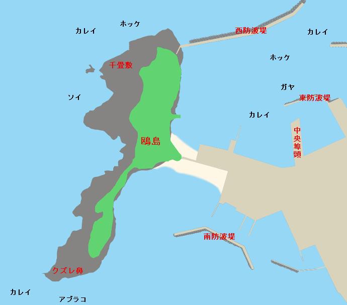 江差港・鴎島ポイント図
