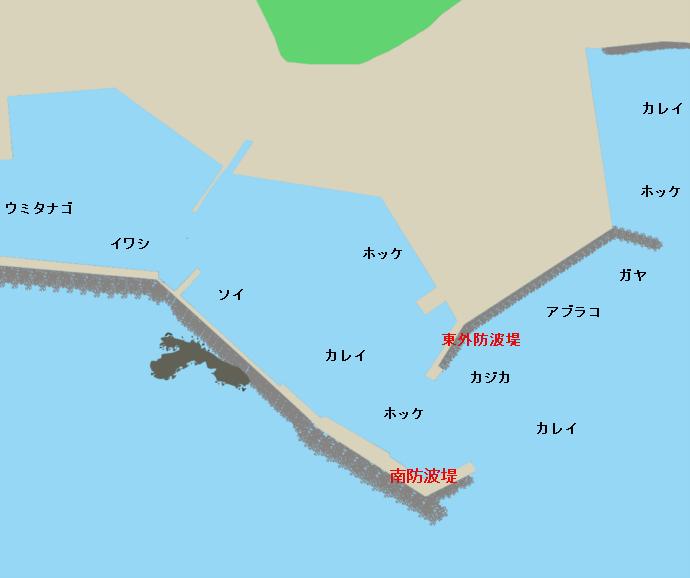 熊石漁港ポイント図