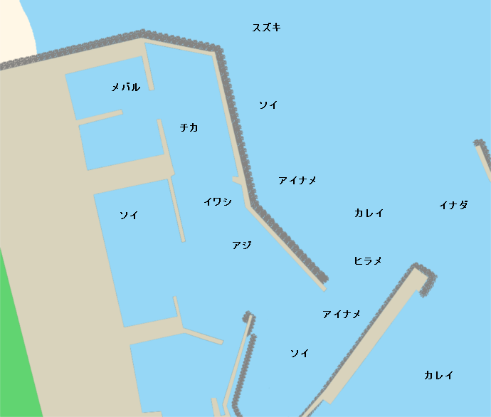 三沢漁港ポイント図