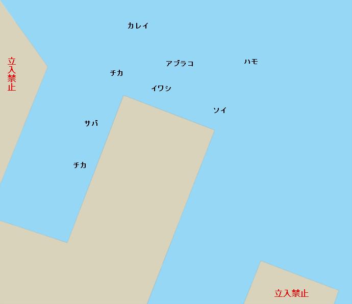 室蘭港西埠頭ポイント図