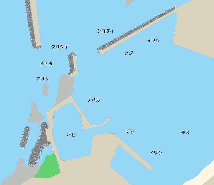 鼠ヶ関漁港ポイント図