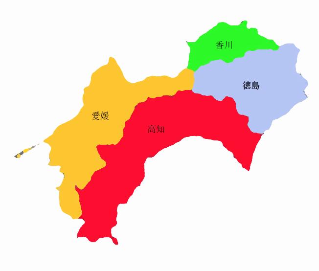 四国地方の地図