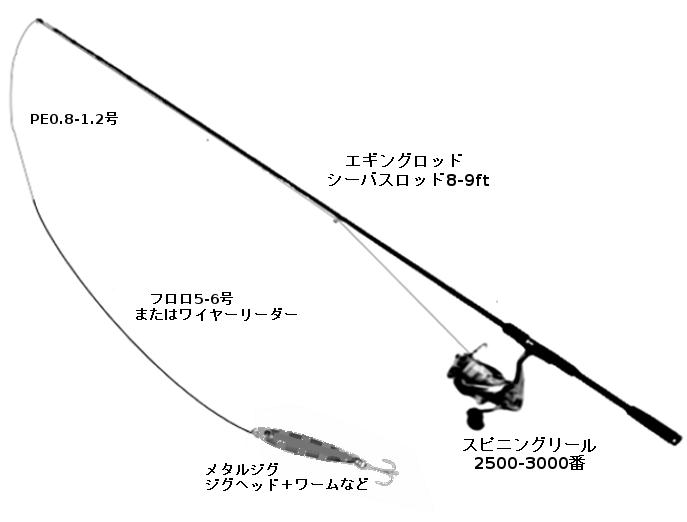 タチウオのルアータックル(ロッド:シーバスロッドまたはエギングロッド、リール:スピニング2500-3000番、ライン:PE0.8-1.2号、リーダー:フロロ5-6号、ルアー:ミノー、バイブレーション、ジグヘッド+ソフトルアー、メタルジグなど