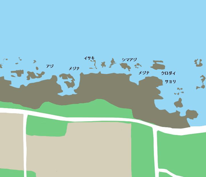 白浜フローラルホール下の磯ポイント図
