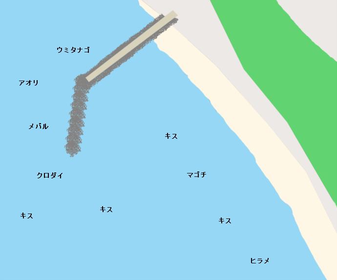岩井海岸ポイント図(突堤付近)