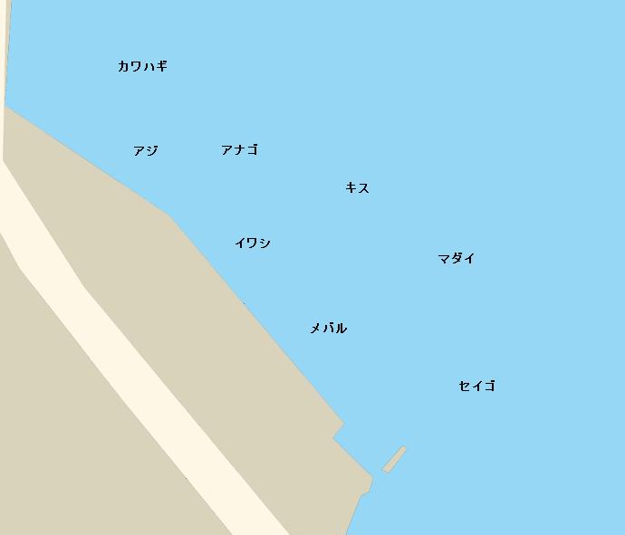 木負農協岸壁ポイント図
