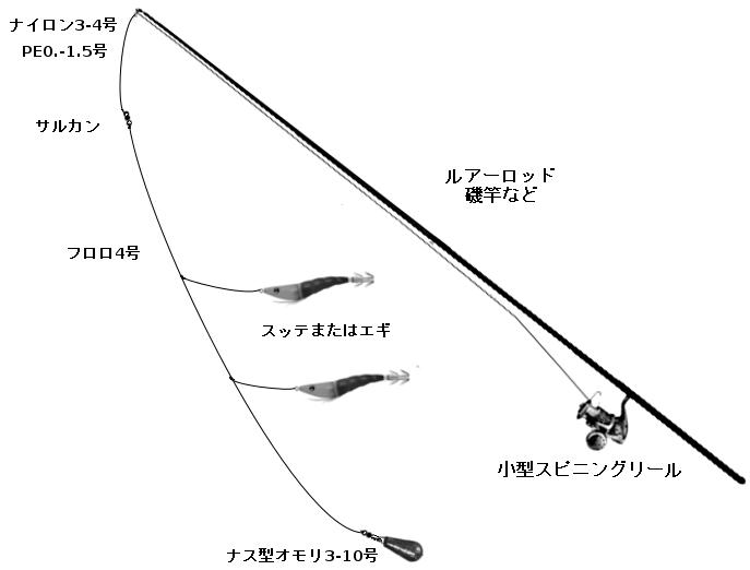 コウイカ狙いの胴付き仕掛けタックル(ロッド:ルアーロッド、磯竿など、リール:小型スピンング、仕掛け:スッテまたはエギ、ナス型オモリ3-10号