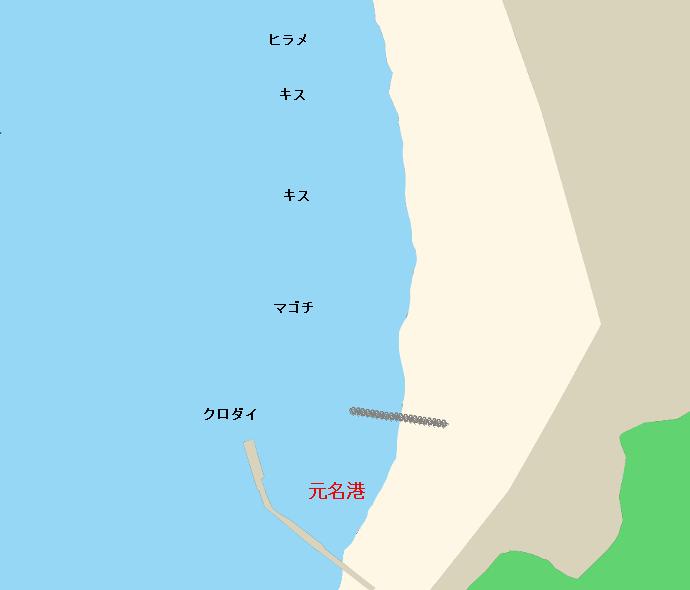 元名港・元名海岸ポイント図