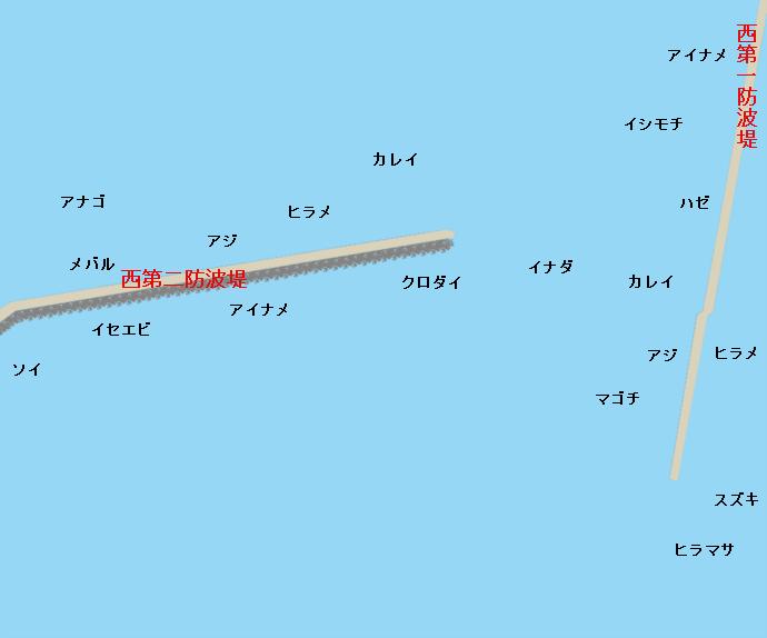 小名浜沖堤防ポイント図