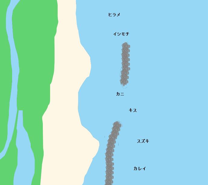 新舞子浜(いわき)ポイント図
