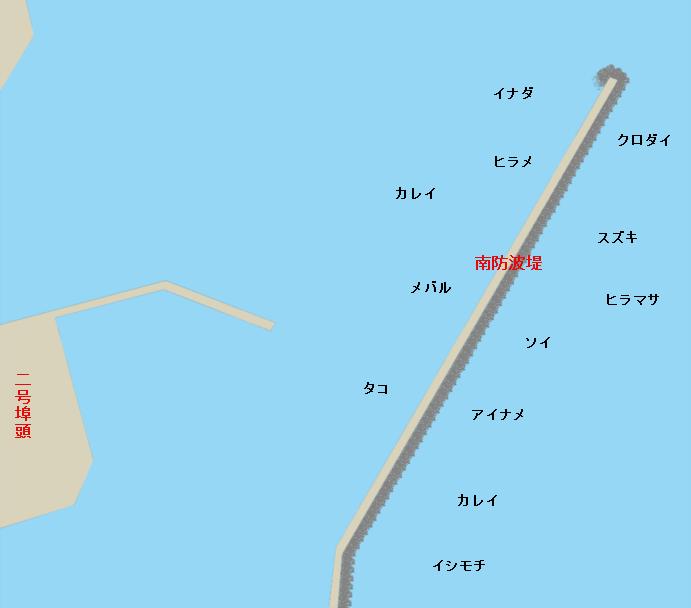 相馬港南堤防ポイント図