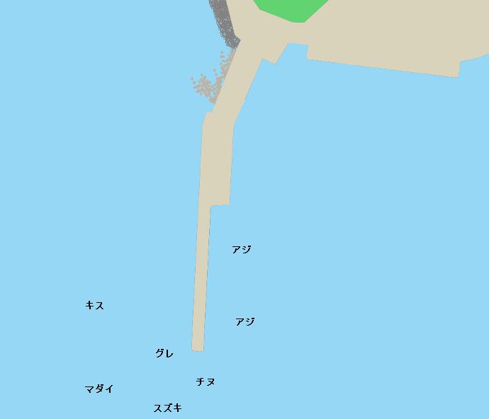 向灘の波止ポイント図