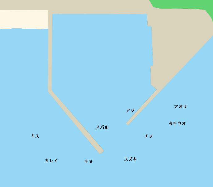 生口島萩の波止ポイント図