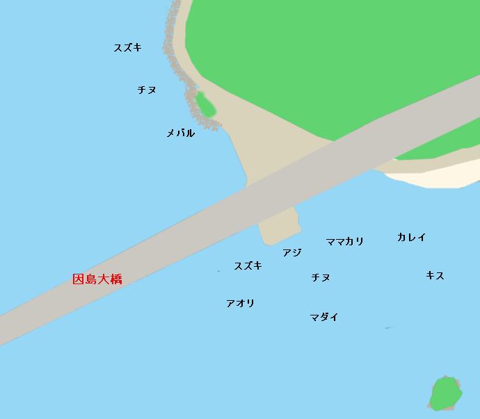 向島因島大橋下ポイント図