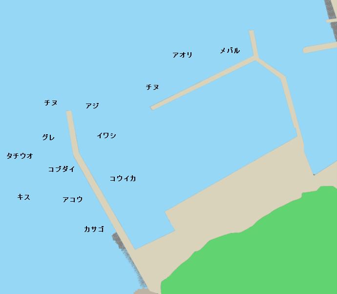 倉橋島海越漁港ポイント図