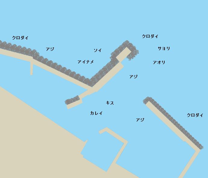 堅苔沢漁港ポイント図