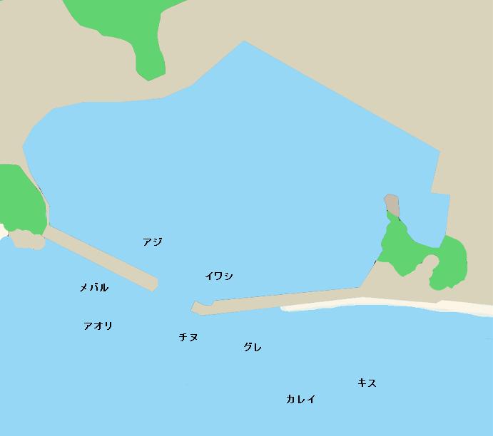 倉橋島鹿老渡漁港ポイント図