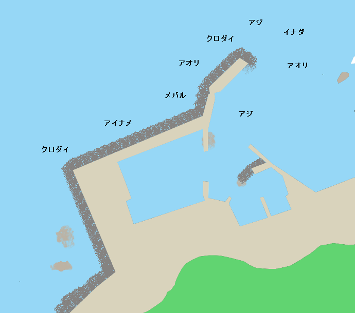 小波渡漁港ポイント図