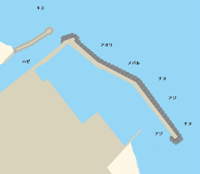 小磯漁港ポイント図