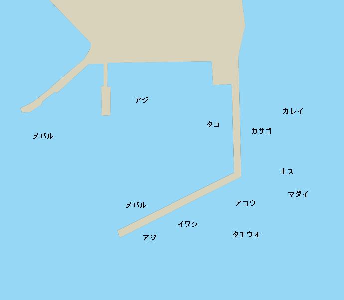 因島小用の波止ポイント図