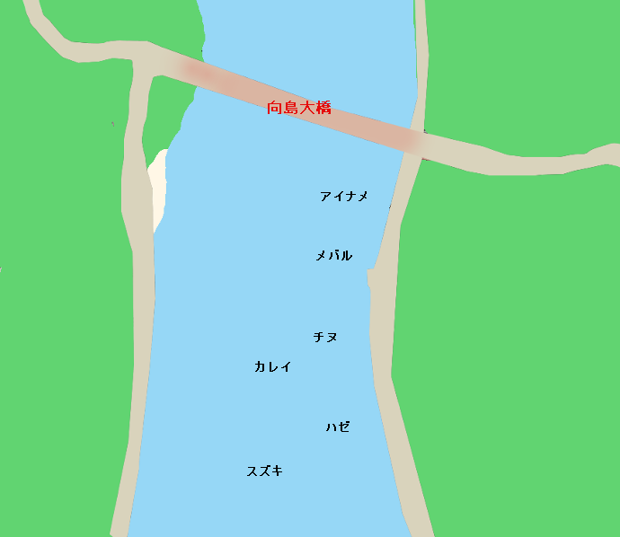 向島大橋下ポイント図