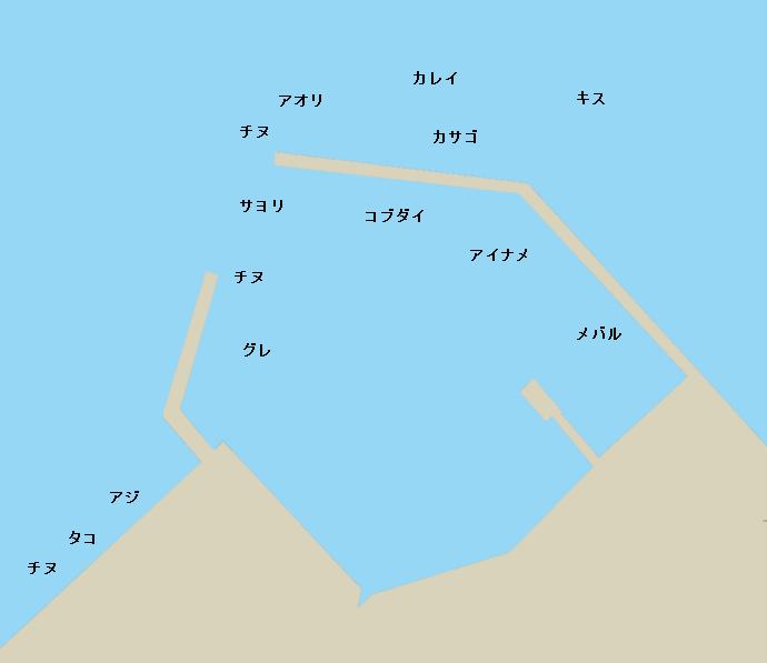 生口島名荷の波止ポイント図