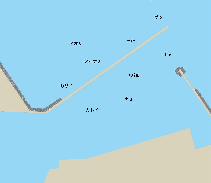長浜港赤灯波止付近ポイント図