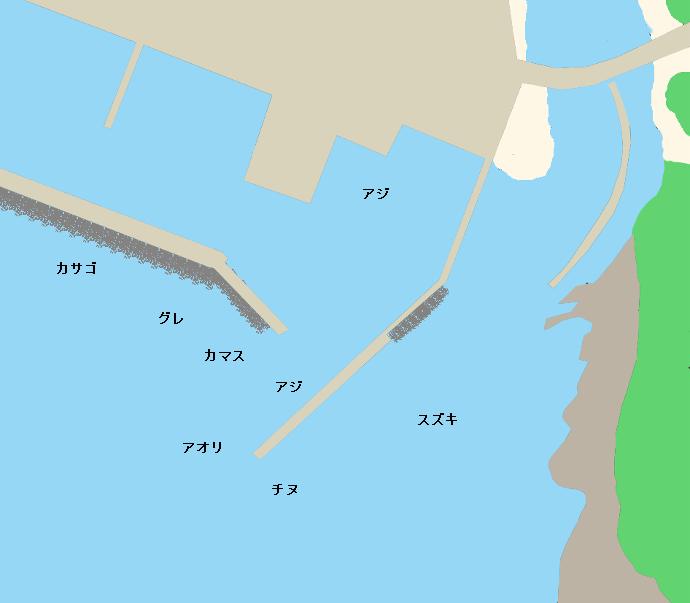 下川口漁港ポイント図