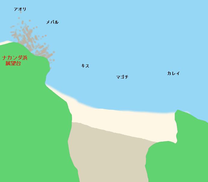 沙弥島北の浜ポイント図