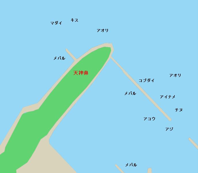 下蒲刈島天神鼻ポイント図