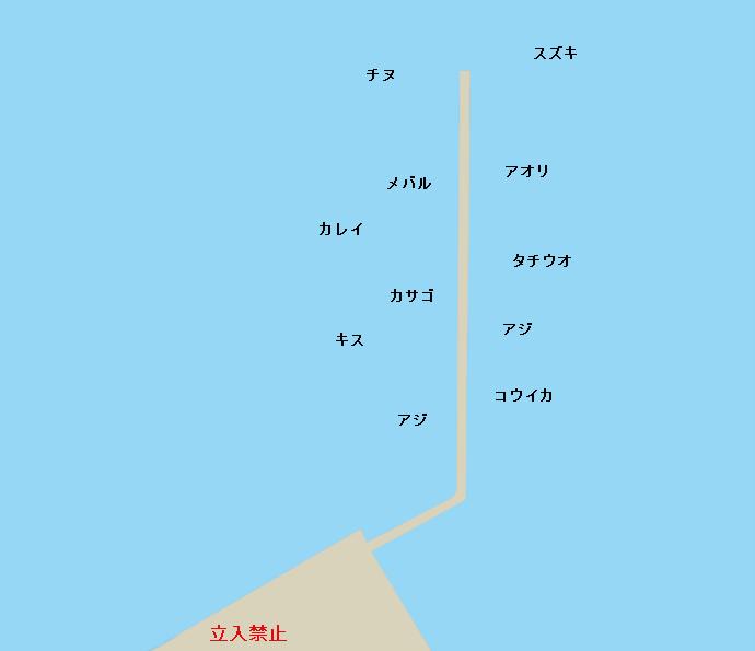 富田新港新波止ポイント図