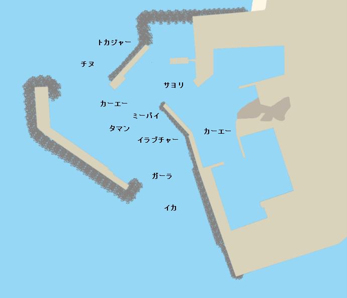 都屋漁港ポイント図