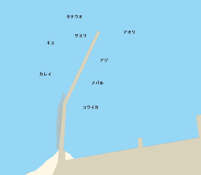 田島内海中学校前の波止ポイント図