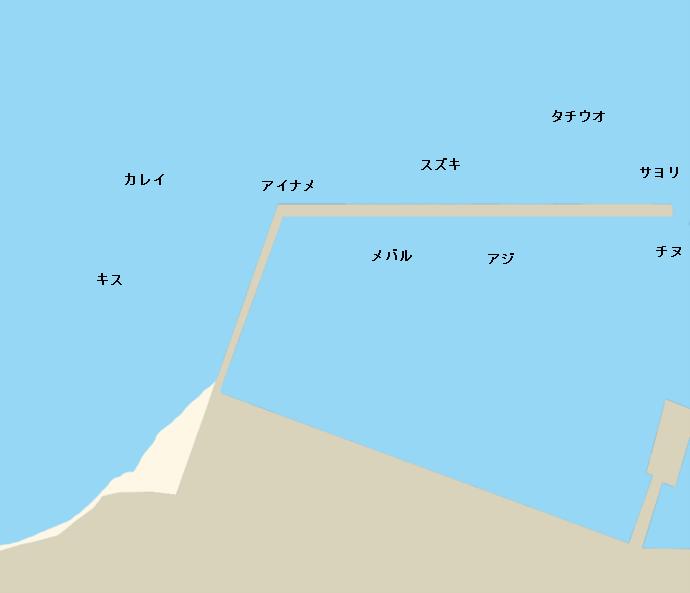 横島浜沖の波止ポイント図