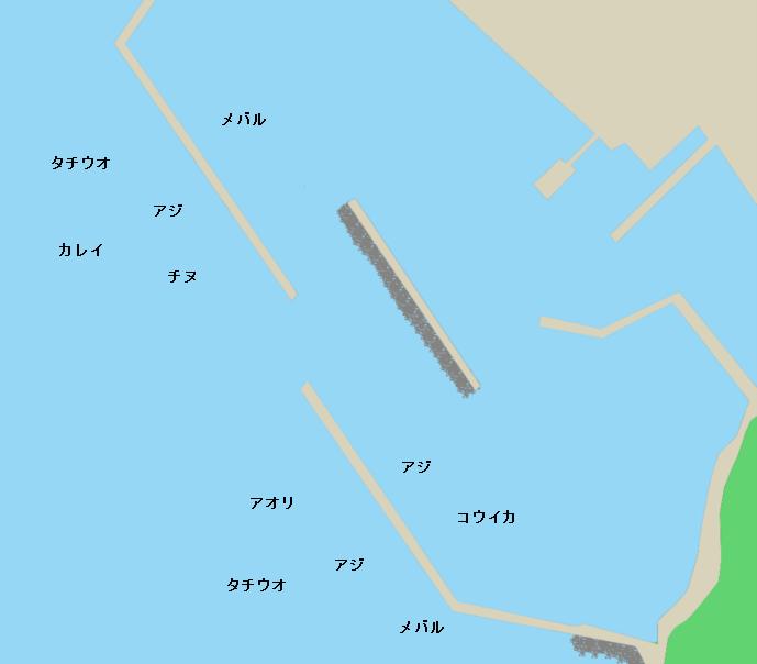 下蒲刈島大地蔵漁港ポイント図