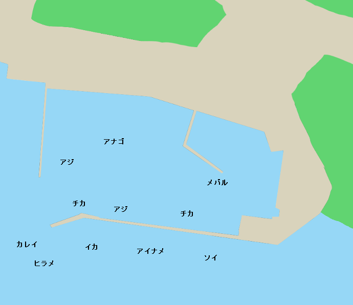 越喜来漁港ポイント図