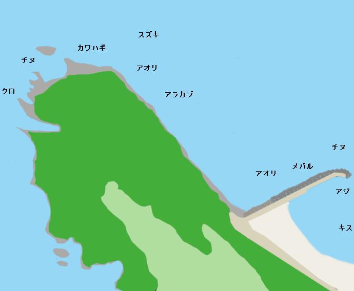 香々地灯台周辺ポイント図