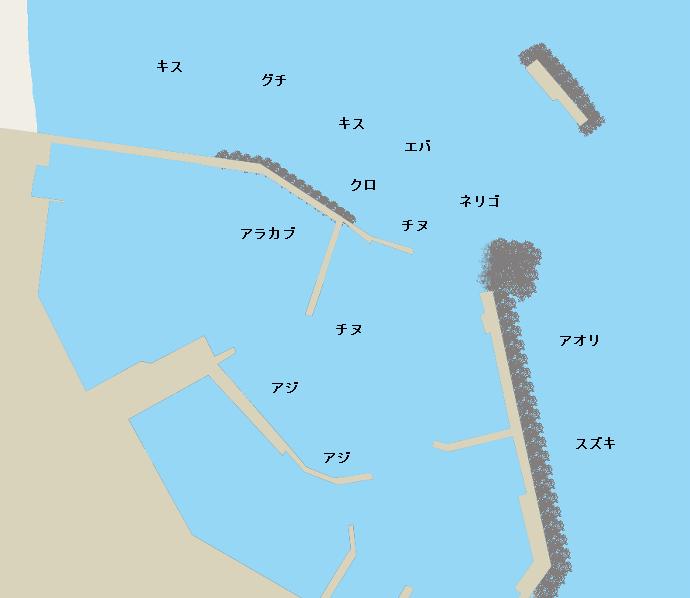 都農漁港ポイント図