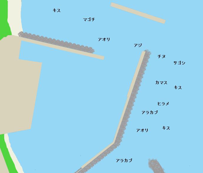 瀬々串漁港ポイント図