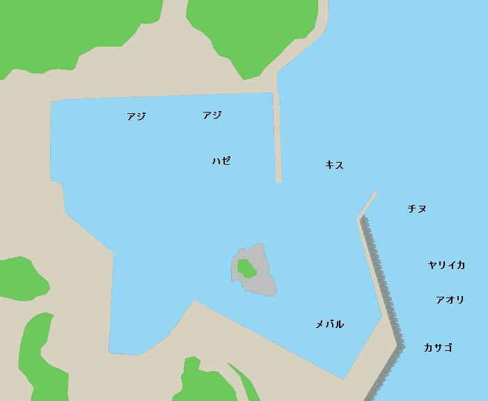 笠浦漁港ポイント図