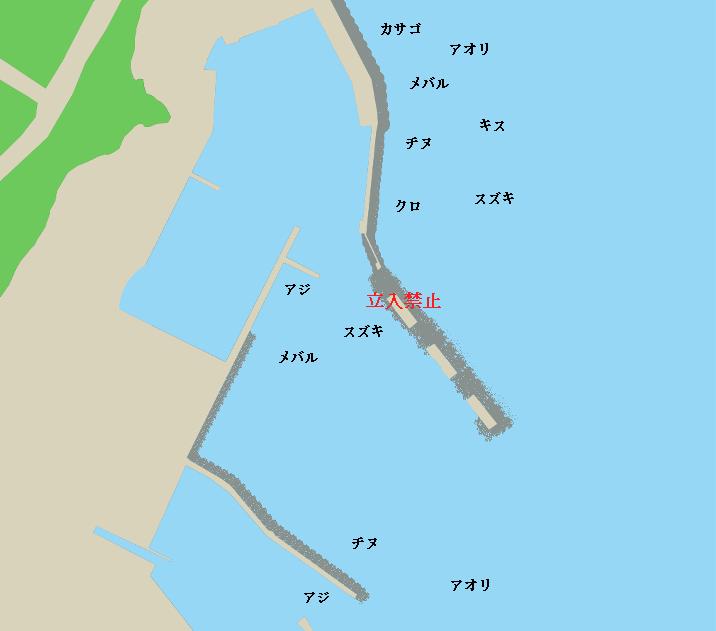 黄波戸漁港ポイント図