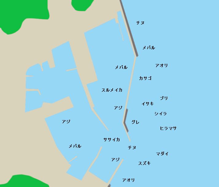 舘浦漁港ポイント図