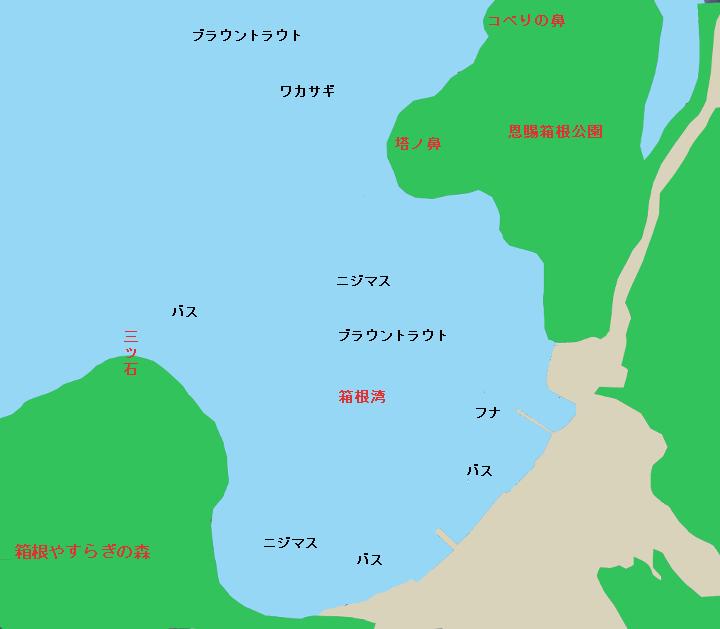 芦ノ湖箱根湾、三ツ石、塔ノ鼻、コべりの鼻のポイント